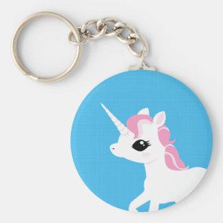 Petite licorne avec le porte - clé rose de porte-clés