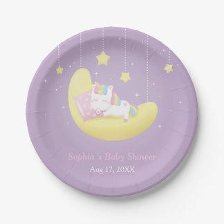 Petite licorne mignonne des plats de baby shower assiettes en papier