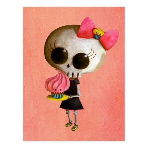 Petite Mlle Death avec le petit gâteau Carte Postale