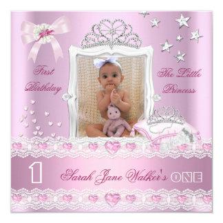 Petite photo de fête d'anniversaire de princesse carton d'invitation  13,33 cm
