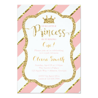 Petite princesse Birthday Invitation en rose et or