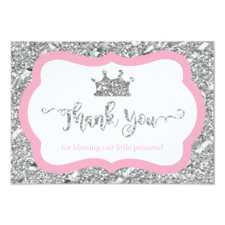 Petite princesse carte de remerciements, rose, carton d'invitation 8,89 cm x 12,70 cm
