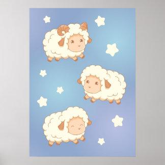 Petite RAM mignonne de moutons Poster