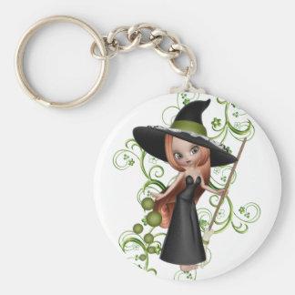 Petite sorcière Redhaired avec la conception verte Porte-clé Rond