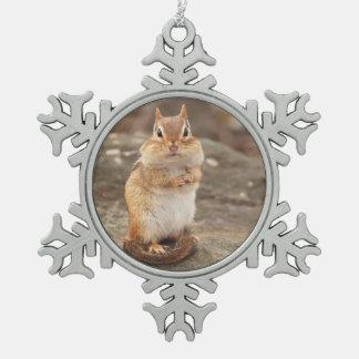 Petite tamia mignonne ornement flocon de neige pewter