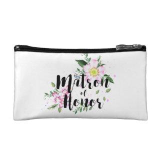 Petite Trousse De Maquillage Mariage floral rose d'aquarelle de dame de honneur