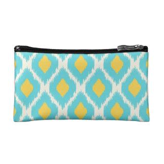 Petite Trousse De Maquillage Motif tribal aztèque jaune bleu à la mode d'Ikat