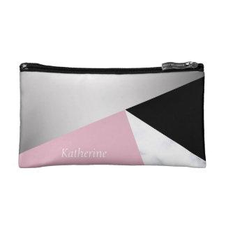 Petite Trousse De Maquillage Noir rose de marbre blanc argenté géométrique