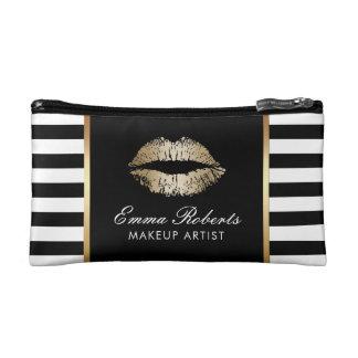 Petite Trousse De Maquillage Rayures blanches noires modernes de lèvres d'or de