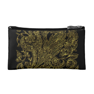 Petite Trousse De Maquillage Style inlayed d'or floral