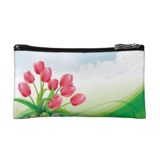 Petite Trousse De Maquillage Tulipes de ressort et oeufs de pâques
