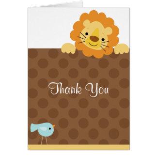 Petites cartes de note de lion et d'oiseau