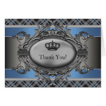 Petites cartes de prince Merci de couronne bleue d