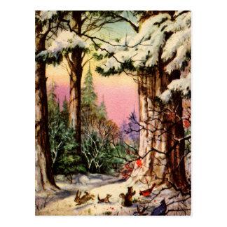 Petits animaux dans la neige cartes postales