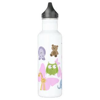 Petits animaux et papillons mignons bouteille d'eau en acier inoxydable