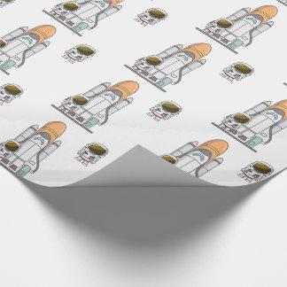 Petits astronaute et vaisseau spatial papiers cadeaux noël
