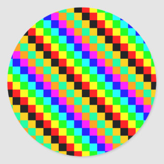 Petits carrés de couleurs sticker rond