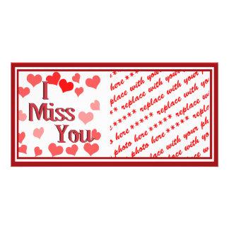Petits coeurs - tu me manque cartes de vœux avec photo