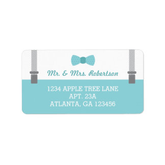 Petits étiquette de adresse, Aqua et gris de