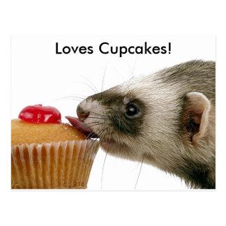 Petits gâteaux d'amour de furets carte postale