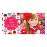 Petits gâteaux roses modernes tout Merci d'occasio Photocartes Personnalisées