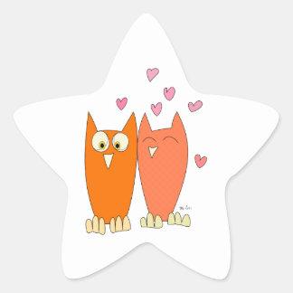 Petits hiboux mignons sticker étoile
