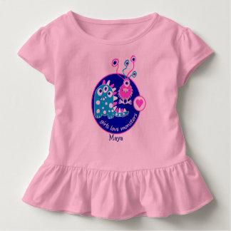 Petits monstres roses drôles personnalisables t-shirt pour les tous petits