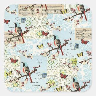 Petits oiseaux et musique sticker carré