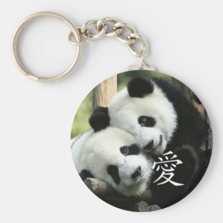 Petits pandas géants affectueux chinois porte-clé rond