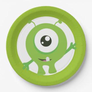 Petits plats d'anniversaire de vert de monstre assiettes en papier