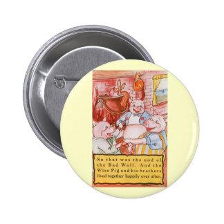 Petits porcs du conte de fées trois vintages et le badge rond 5 cm