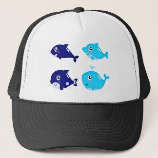 Petits T-shirts mignons bleus de baleines Casquette