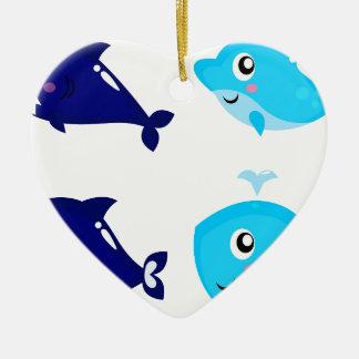 Petits T-shirts mignons bleus de baleines Ornement Cœur En Céramique