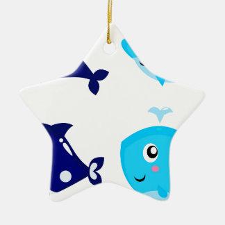 Petits T-shirts mignons bleus de baleines Ornement Étoile En Céramique