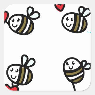 Peu d'abeilles de vol sur le blanc sticker carré