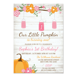 Peu d'anniversaire de fille d'automne de pots de carton d'invitation  12,7 cm x 17,78 cm