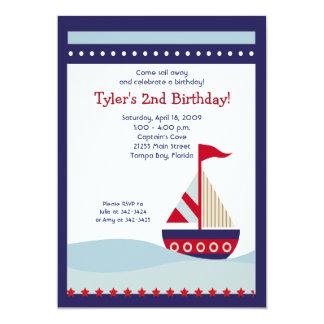 Peu d'anniversaire nautique 5x7 de bateau de cartons d'invitation