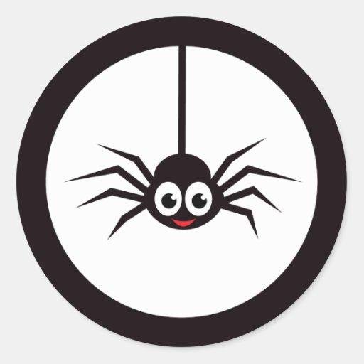 Peu d'araignée de bande dessinée devant la pleine sticker rond