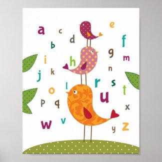 Peu d'art de crèche d'alphabets de birdie poster