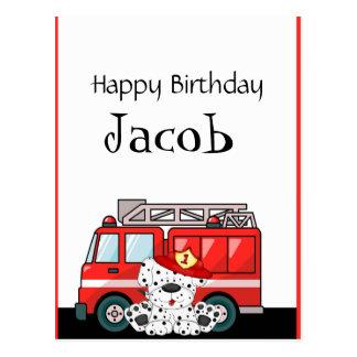 Peu de camion de pompiers rouge, anniversaire dalm cartes postales
