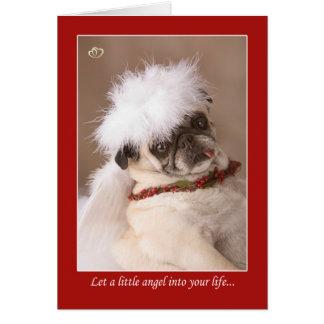 Peu de carte de carlin de Noël d'ange