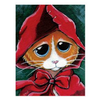Peu de carte postale rouge d'art de chat tigré du