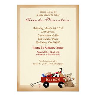 Peu de chariot de rouge folâtre le baby shower de carton d'invitation  12,7 cm x 17,78 cm