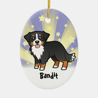 Peu de chien de montagne de Bernese d'étoile Ornement Ovale En Céramique