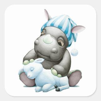 Peu de G l'autocollant de rhinocéros de bébé Sticker Carré