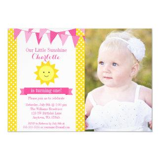 Peu de photo d'anniversaire d'étamine jaune de carton d'invitation  12,7 cm x 17,78 cm