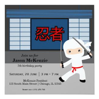 Peu de thème d'anniversaire de ninja carton d'invitation  13,33 cm