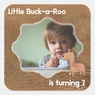 Peu d'image d'anniversaire de Buckaroo deuxième Sticker Carré
