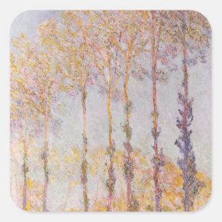 Peupliers de Claude Monet | sur les banques de Sticker Carré