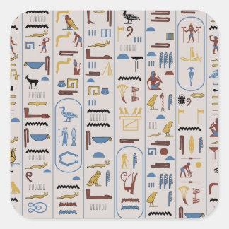Pharaon de couleur de cendre d'hiéroglyphes sticker carré